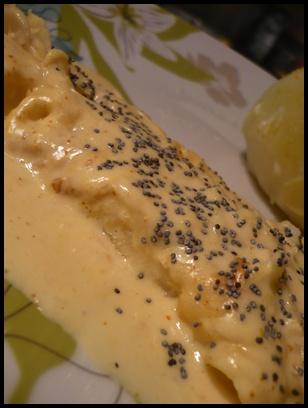 filetgrenadiersaucecurryetpavotcrea Filet de grenadier sauce curry et pavot