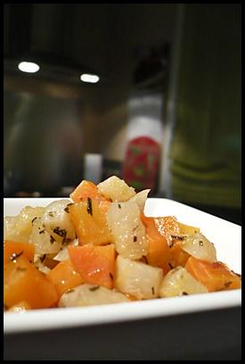 duocarottesnavetthymcrea2 Duo de carottes et navets au thym