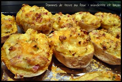Pommes de terre au four la mimolette et au bacon mes - Pomme de terre en robe de chambre au four ...