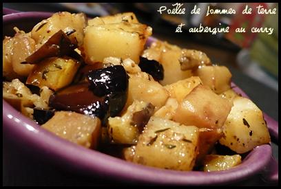 Po l e de pommes de terre et aubergine au curry mes petits d lices - Pomme de terre grille a la poele ...