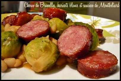 chouxbruxellesharicotsblancssaucissecrea2 Choux de Bruxelles, haricots blancs et saucisse de Montbéliard