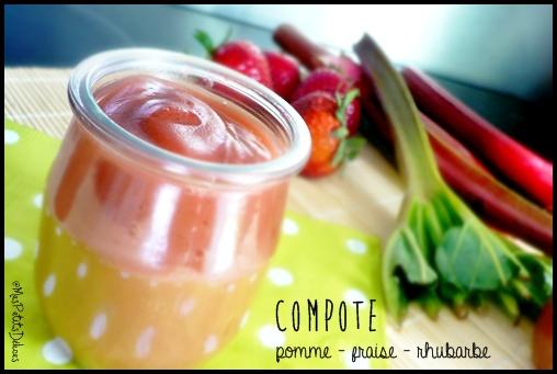 compotefraiserhubarbecrea4 Compote et crumble saveur pomme fraise rhubarbe
