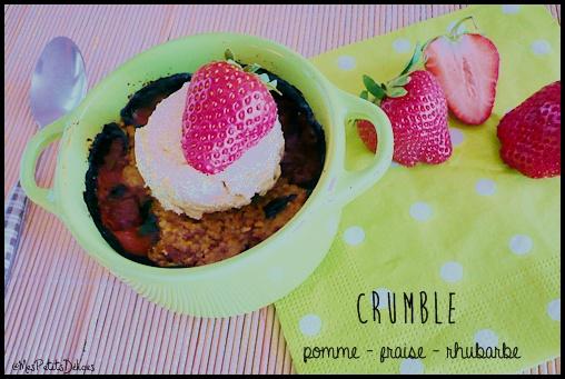 crumblefraiserhubarbecrea4 Compote et crumble saveur pomme fraise rhubarbe