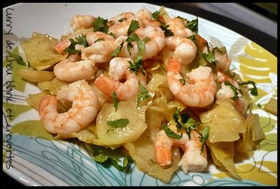 currychoublancetcrevettescrea Curry de chou blanc aux crevettes