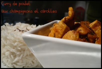 currypouletchampignonscarottescrea1 Curry de poulet aux champignons et carottes