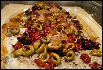 dosdelieunoirolivestomatescitronconfitcrea2 Dos de lieu noir aux olives, tomates séchées et citron confit