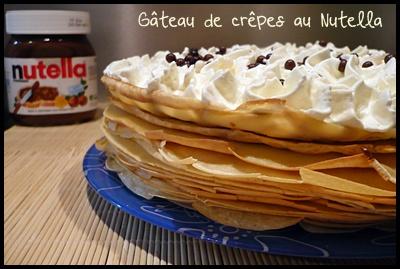 gateaucrepesnutellacrea1 Gâteau de crêpes au Nutella