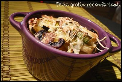 gratinpdtpoireauxchampiscrea1 Gratin de pommes de terre, poireaux et champignons