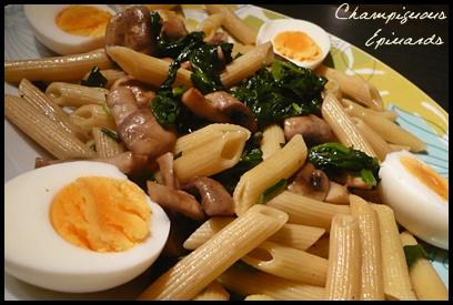 penneepinardschampiscrea1 Penne aux épinards et champignons