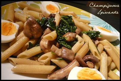 penneepinardschampiscrea2 Penne aux épinards et champignons