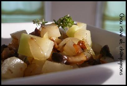 poeleechouravechampignonscrea1 Poêlée de chou rave aux champignons et au thym