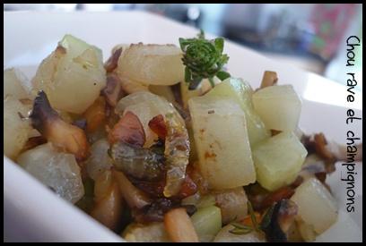 poeleechouravechampignonscrea21 Poêlée de chou rave aux champignons et au thym