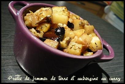 poeleepdtaubergineaucurrycrea2 Poêlée de pommes de terre et aubergine au curry