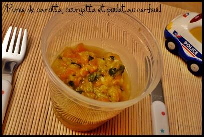 pureecarottecourgettepouletaucerfeuilcrea2 Purée de carotte, courgette et poulet au cerfeuil (dès 7 mois)
