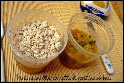 pureecarottecourgettepouletcerfeuilcrea1 Purée de carotte, courgette et poulet au cerfeuil (dès 7 mois)