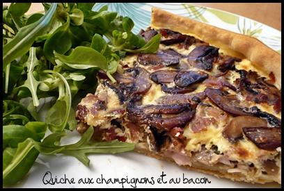 quichechampignonsbaconcrea Quiche aux champignons et au bacon
