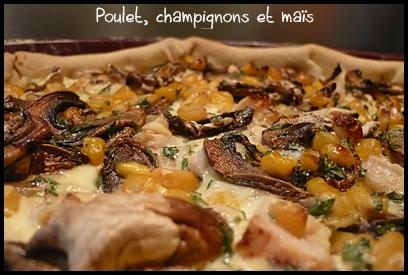 quichepouletchampignonsmaiscrea1 Quiche au poulet, champignons et maïs