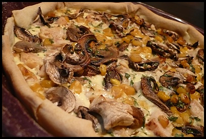 quichepouletchampignonsmaiscrea2 Quiche au poulet, champignons et maïs