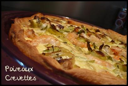 tartepoireauxcrevettescrea1 Tarte aux poireaux et aux crevettes