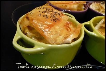 tourtesaumonbrocoliscocottecrea1 Tourte au saumon et brocolis en cocotte
