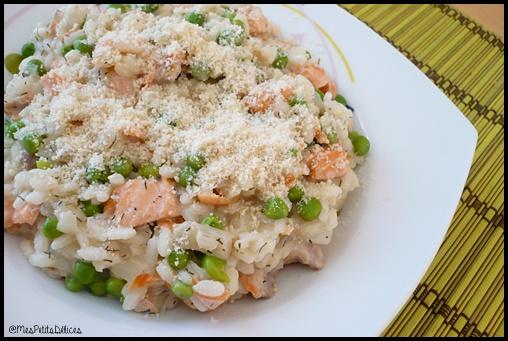 risotto saumon petits pois C2 Risotto au saumon et petits pois