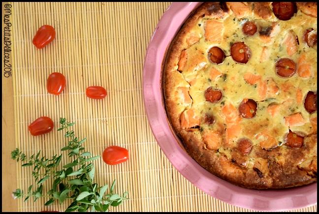 clafouti tomate cerise saumon 2C Clafoutis aux tomates cerises et saumon