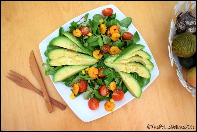 salade avocat crevettes 1C ☀ Repas fraîcheur ☀ : Avocat, crevettes au curry et tomates cerises
