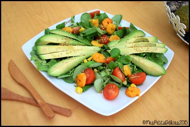 salade avocat crevettes 2C ☀ Repas fraîcheur ☀ : Avocat, crevettes au curry et tomates cerises