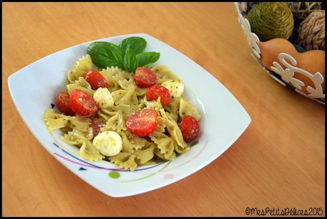 salade de pâtes au pesto 1C ☀ Repas fraîcheur ☀ : Salade de pâtes au pesto