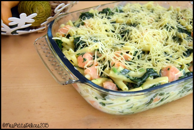 gratin macaronis epinards saumon 1C Gratin de macaronis aux épinards et au saumon