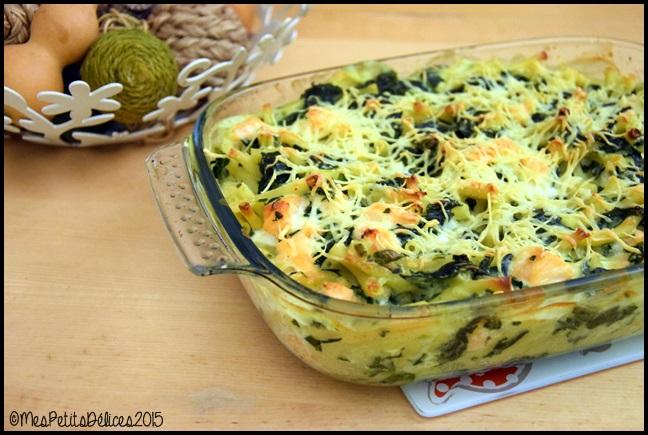 gratin macaronis epinards saumon 2C Gratin de macaronis aux épinards et au saumon