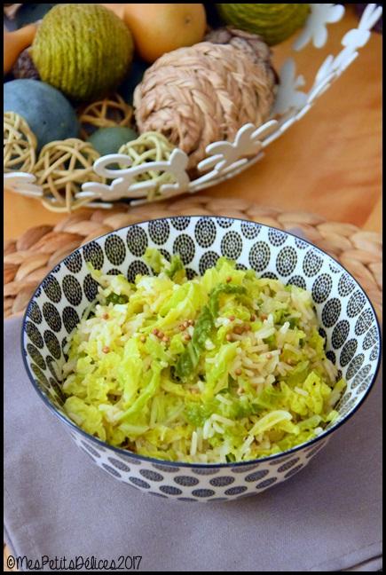 riz chou coriandre 1C Riz au chou vert épicé