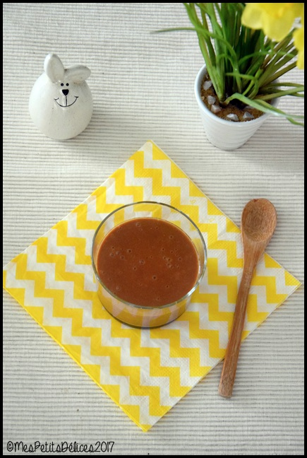 Verrines de crème soja orge caramel 1C Petites crèmes au soja, caramel et orge