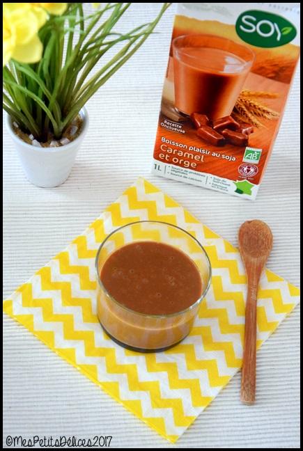 Verrines de crème soja orge caramel 3C Petites crèmes au soja, caramel et orge