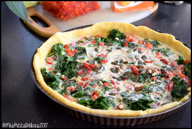 tarte kale poivron 2C Tarte au kale, poivron rouge et graines
