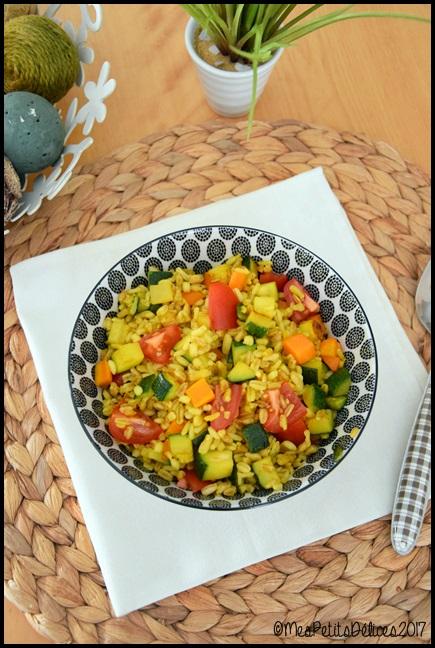 céréales aux légumes et curcuma 1C Céréales aux légumes et curcuma