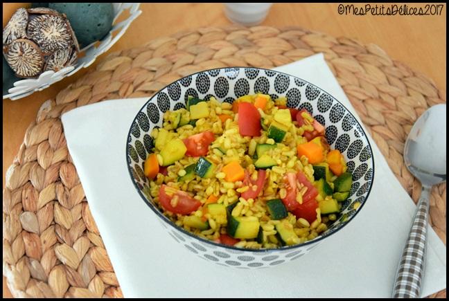 céréales aux légumes et curcuma 2C Céréales aux légumes et curcuma