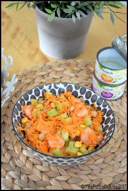 salade carotte concombre touche de maïs et de pois chiches 1C ☼ Salade du jour ☼ : Carotte, concombre, crevettes et touches de maïs et pois chiches