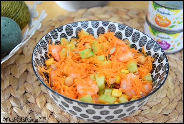 salade carotte concombre touche de maïs et de pois chiches 2C ☼ Salade du jour ☼ : Carotte, concombre, crevettes et touches de maïs et pois chiches