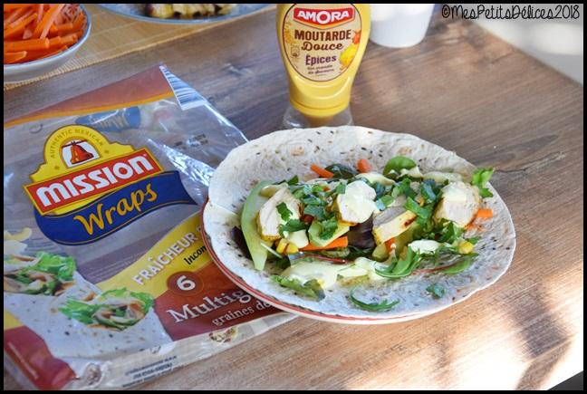 wraps poulet légumes sauce aux épices douces 4C Wraps de poulet et crudités aux épices douces