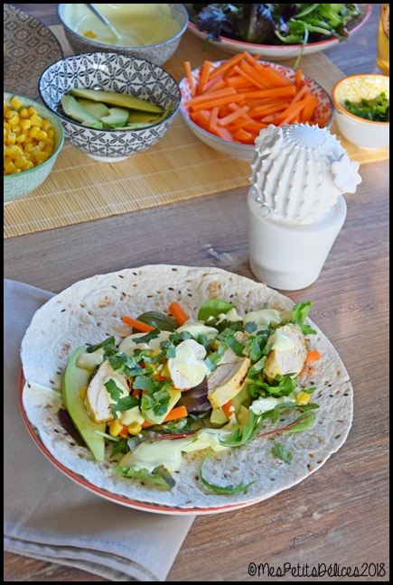 wraps poulet légumes sauce aux épices douces 5C Wraps de poulet et crudités aux épices douces