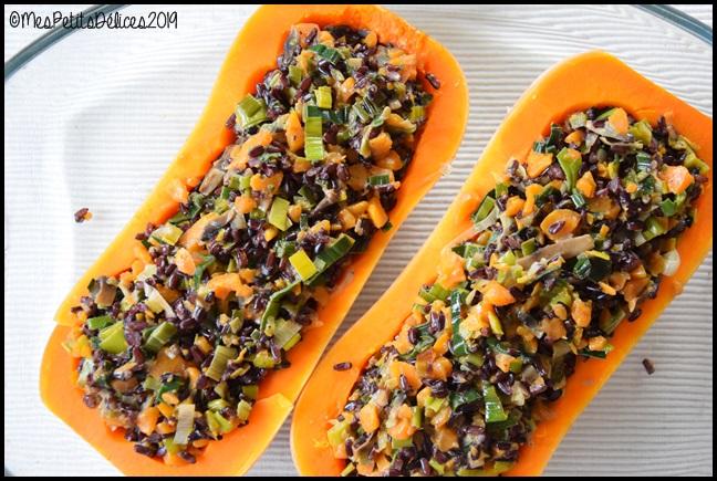 butternut farcie végétarienne 2C Butternut farcie aux légumes de saison, riz noir et lait de coco