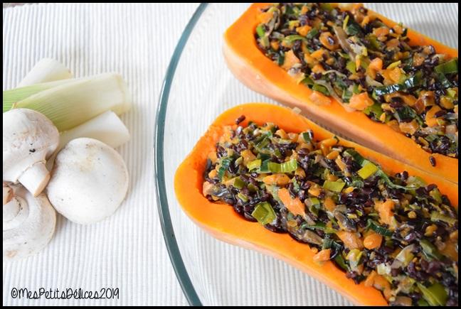 butternut farcie végétarienne 3C Butternut farcie aux légumes de saison, riz noir et lait de coco