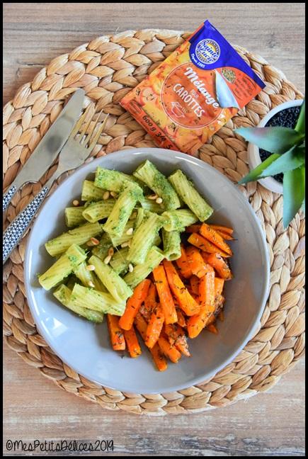 pâtes pesto fanes carottes et carottes rôties au four 1C Pâtes au pesto de fanes de carottes et carottes rôties