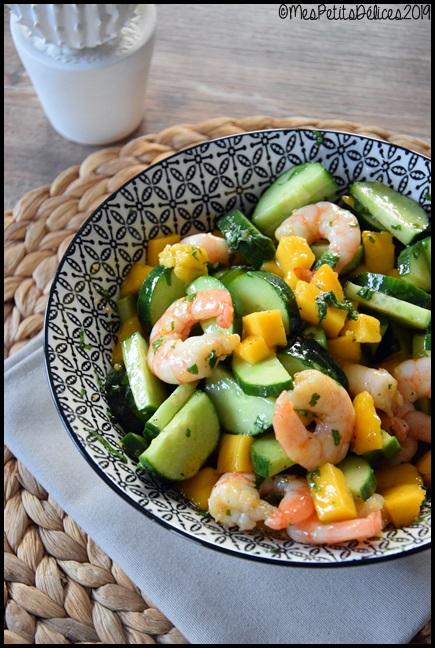 salade concombre crevette mangue thaïe 3C Salade concombre/crevette/mangue et vinaigrette thaï
