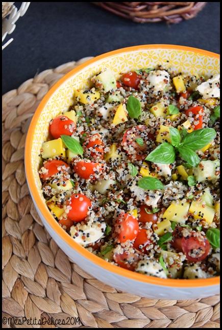 salade courgette quinoa mozza tomates cerises 1C Salade complète au quinoa