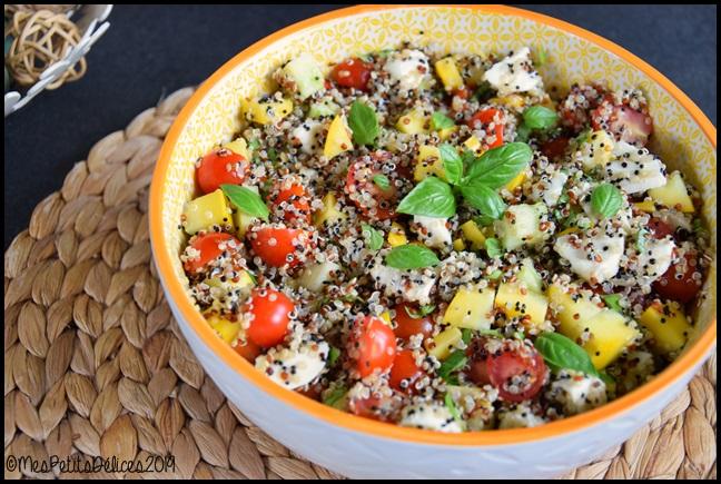 salade courgette quinoa mozza tomates cerises 2C Salade complète au quinoa