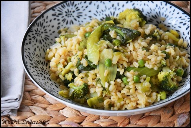 blé aux légumes verts 3C Blé aux légumes verts façon One Pot