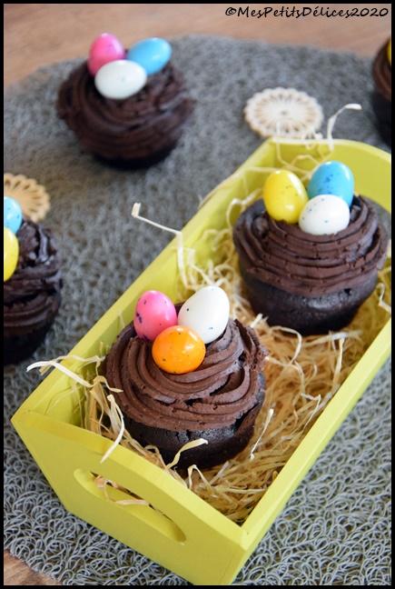 cupcakes chocolat nids de pâques 1C Cupcakes nids de Pâques tout chocolat