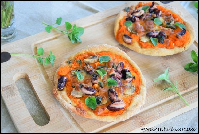 pizza végé base carotte 4C Minis pizzas végétariennes et IG bas
